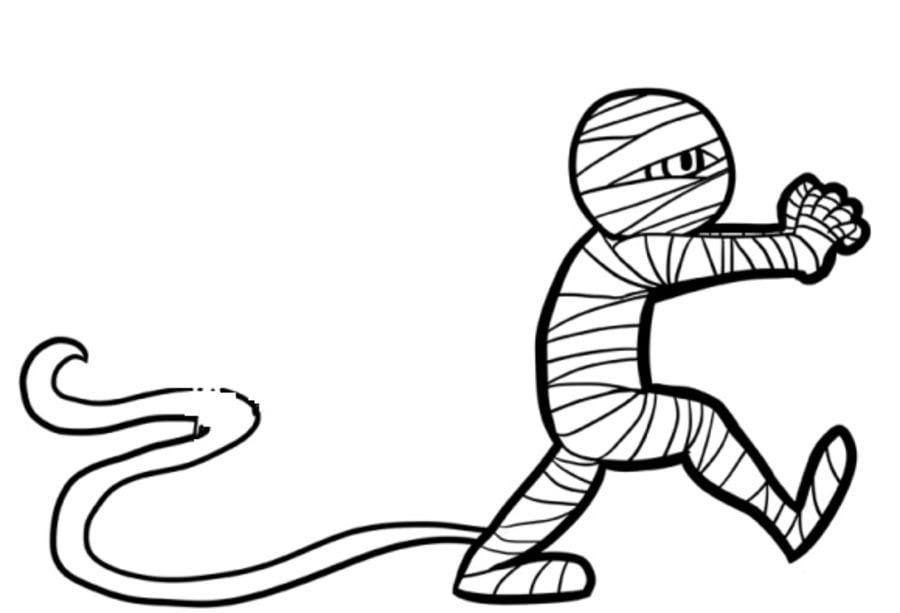 Ausmalbilder: Mumie zum ausdrucken, kostenlos, für Kinder und Erwachsene