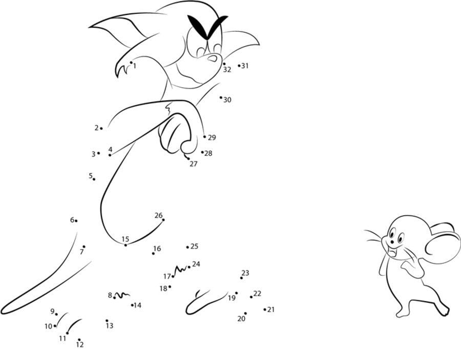 Unir puntos: Tom y Jerry imprimible, gratis, para los niños y los ...