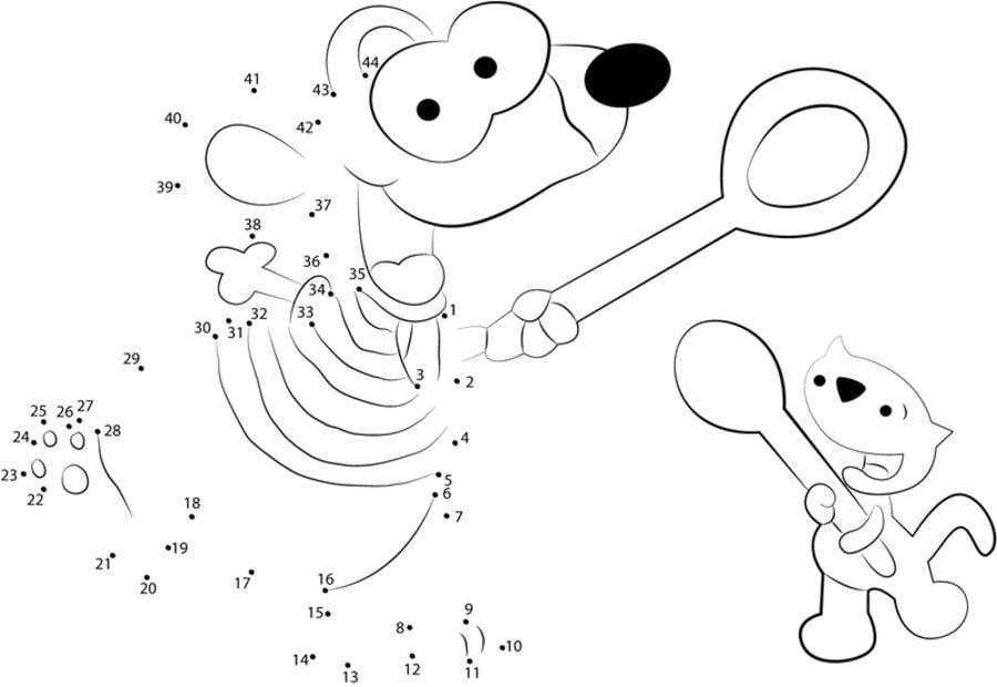 Connect the dots: Toopy and Binoo, printable for kids & adults, free