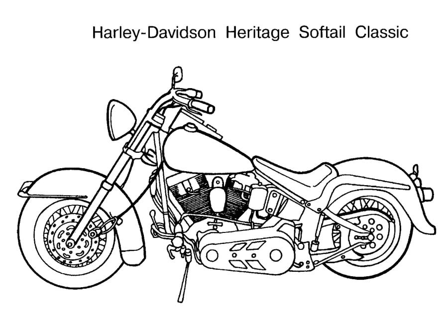 Harley Davidson Coloring Pages Motorcycles Transport