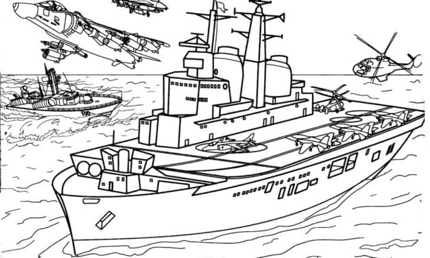 Coloring pages: Warship