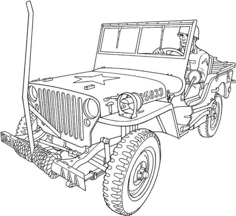 Disegni da colorare camion dell 39 esercito stampabile for Jeep da colorare