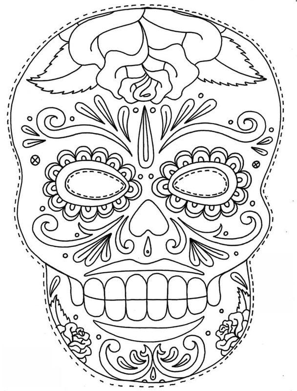 Dibujos Para Colorear Para Adultos Cráneo Imprimible Gratis Jpg Pdf
