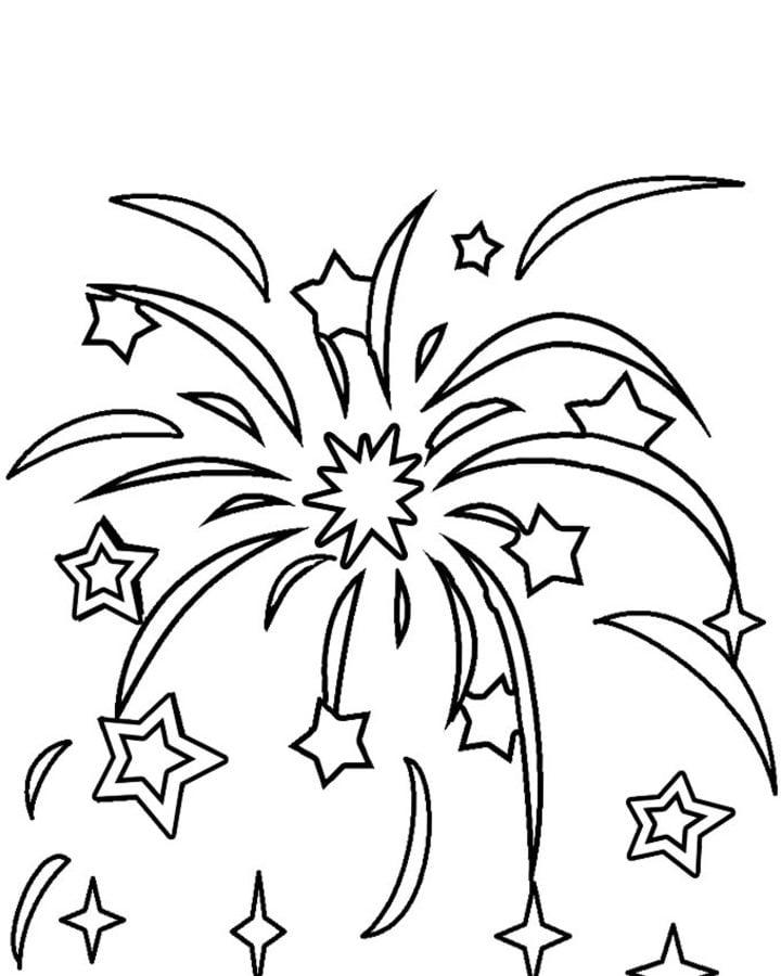 Dibujos para colorear: Fuegos artificiales imprimible, gratis, para ...