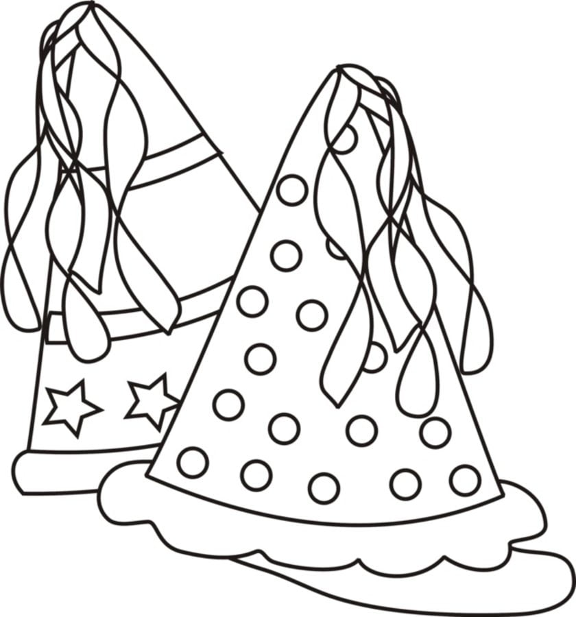 party hats birthday coloring pages holidays new years eve - Party Hat Coloring Page