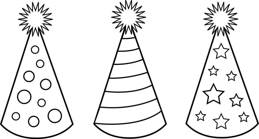 Dibujos para colorear: Gorros de Fiesta imprimible, gratis, para los ...