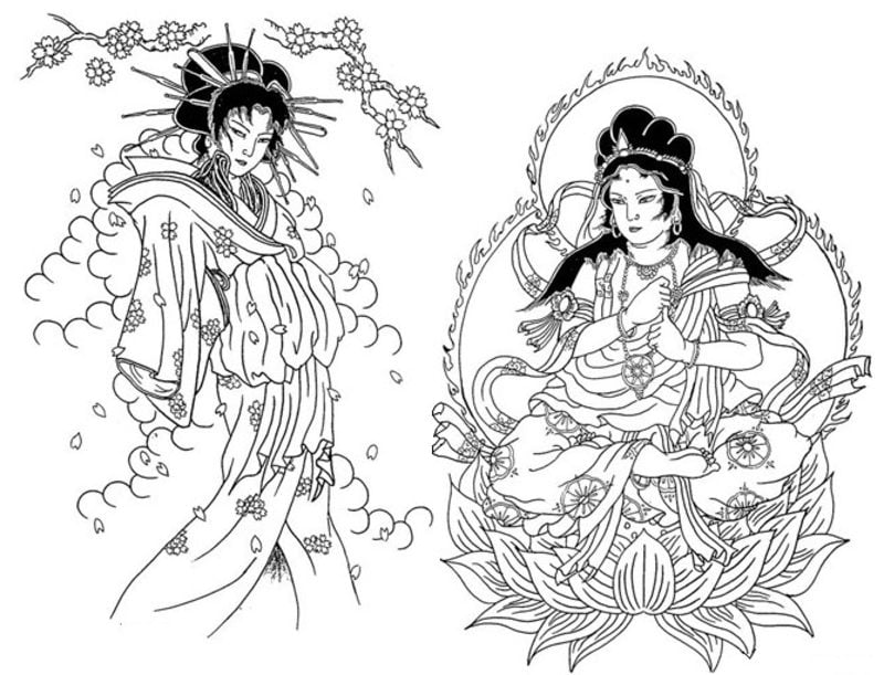 Coloring pages for adults: Japan, printable, free to ...