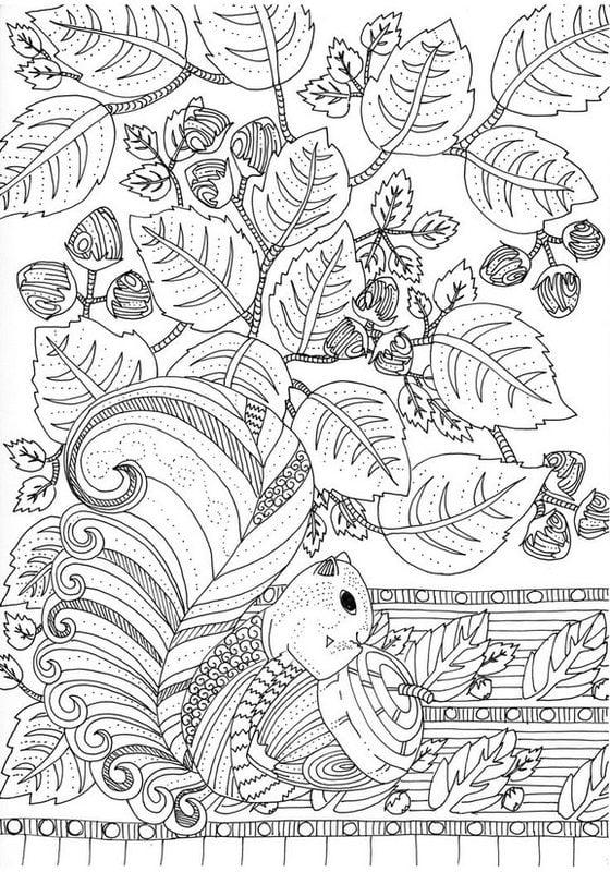 Dibujos para colorear para adultos: Otoño imprimible, gratis