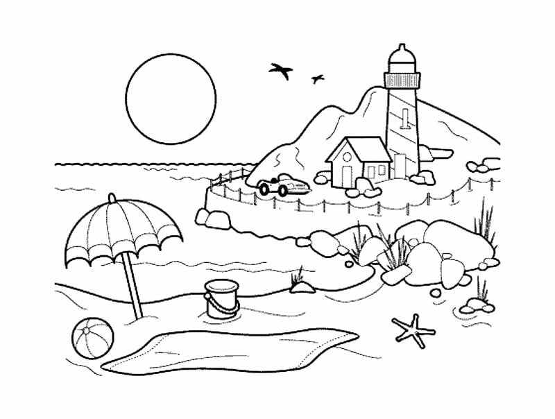 Coloring pages for adults: Landscape, printable, free to ...
