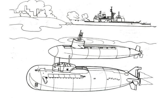 Coloring pages: Submarine