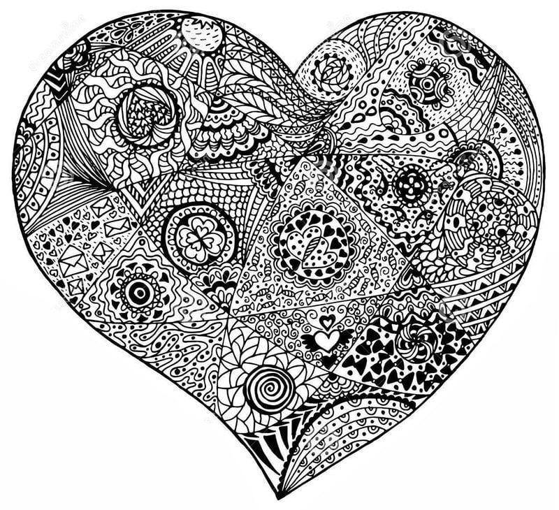 Ausmalbilder für erwachsene: Herz zum ausdrucken, kostenlos