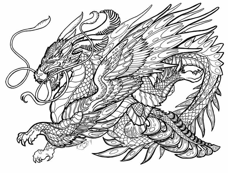 Ausmalbilder für erwachsene: Drachen zum ausdrucken, kostenlos