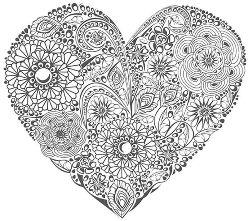 Dibujos para colorear para adultos: Día de San Valentín imprimible ...