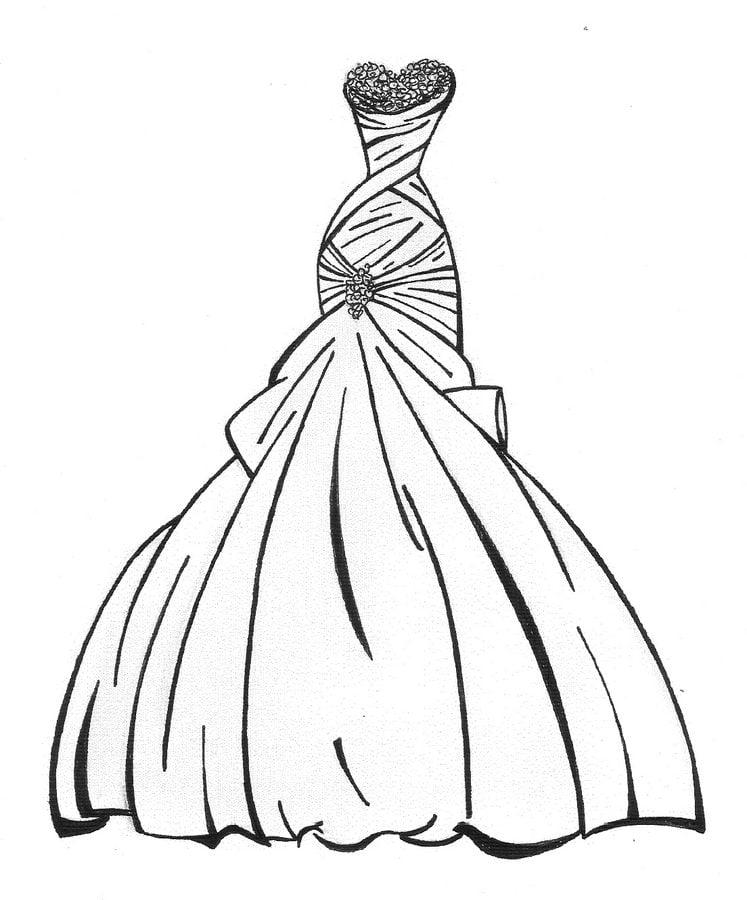 dibujos para colorear: vestido de novia imprimible, gratis, para los