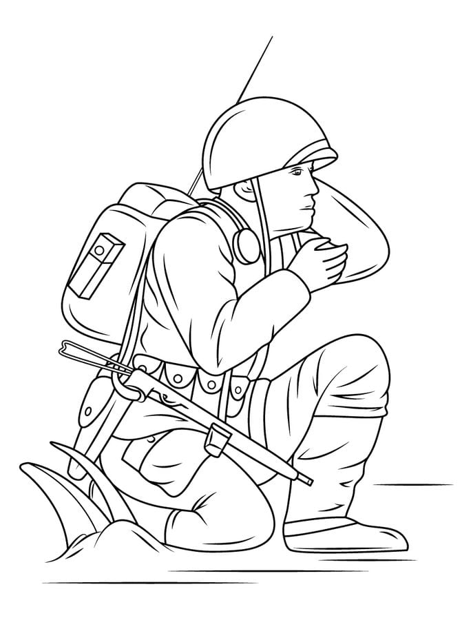leger tank kleurplaat soldat raucht vor ruine ausmalbild