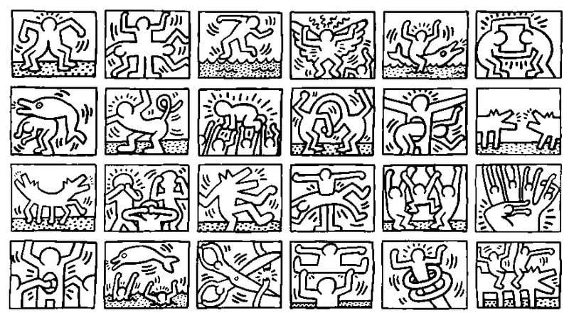 Dibujos para colorear para adultos: Keith Haring imprimible, gratis ...