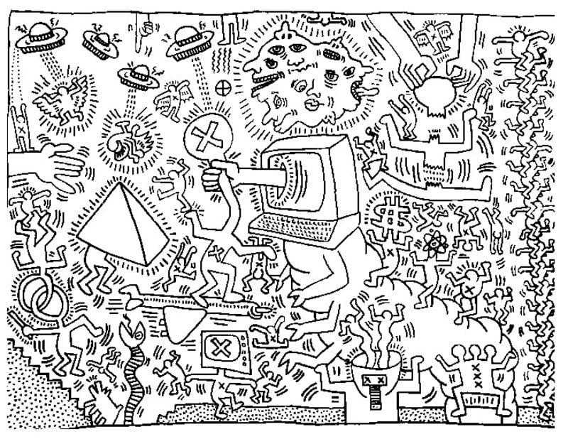 ausmalbilder für erwachsene keith haring zum ausdrucken
