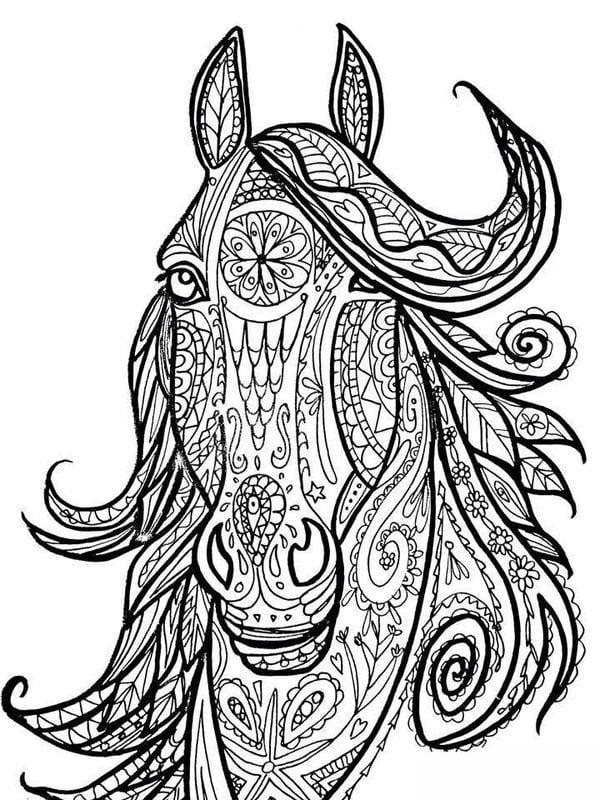 Kolorowanki dla doros ych Konie do druku pobrania za