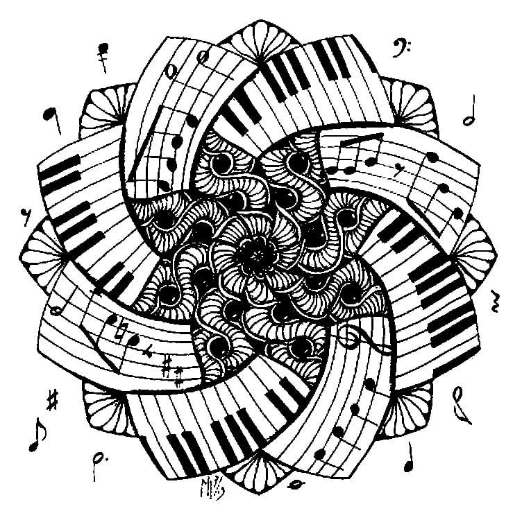 Music Art Coloring Pages For Adults