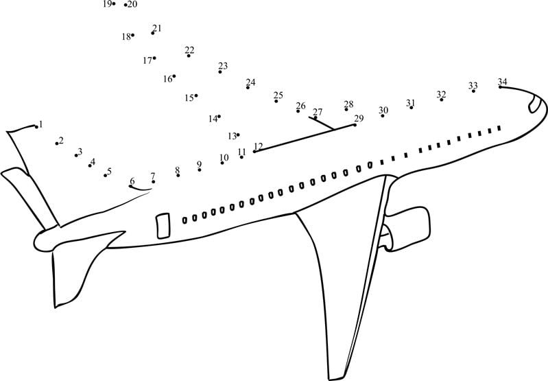 Connect The Dots: Airplane, Printable For Kids & Adults, Free