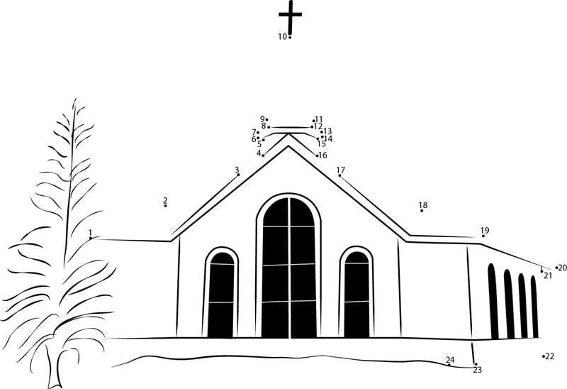 Unir puntos: Iglesia imprimible, gratis, para los niños y los adultos