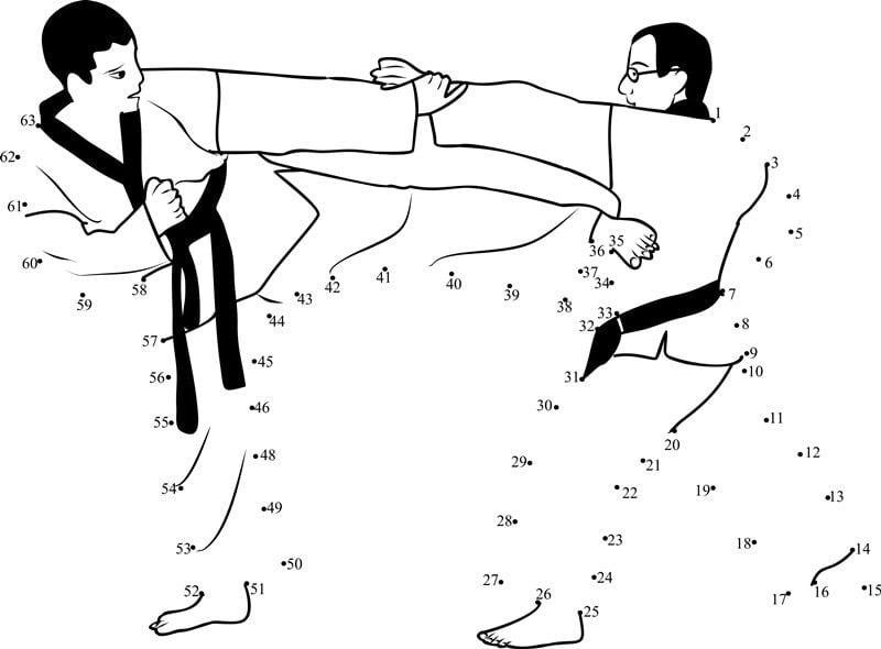 Unir puntos: Arte marcial imprimible, gratis, para los niños y los ...