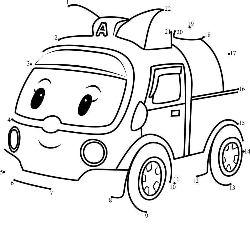 Unisci I Puntini Robocar Poli Stampabile Gratuito Per Bambini E
