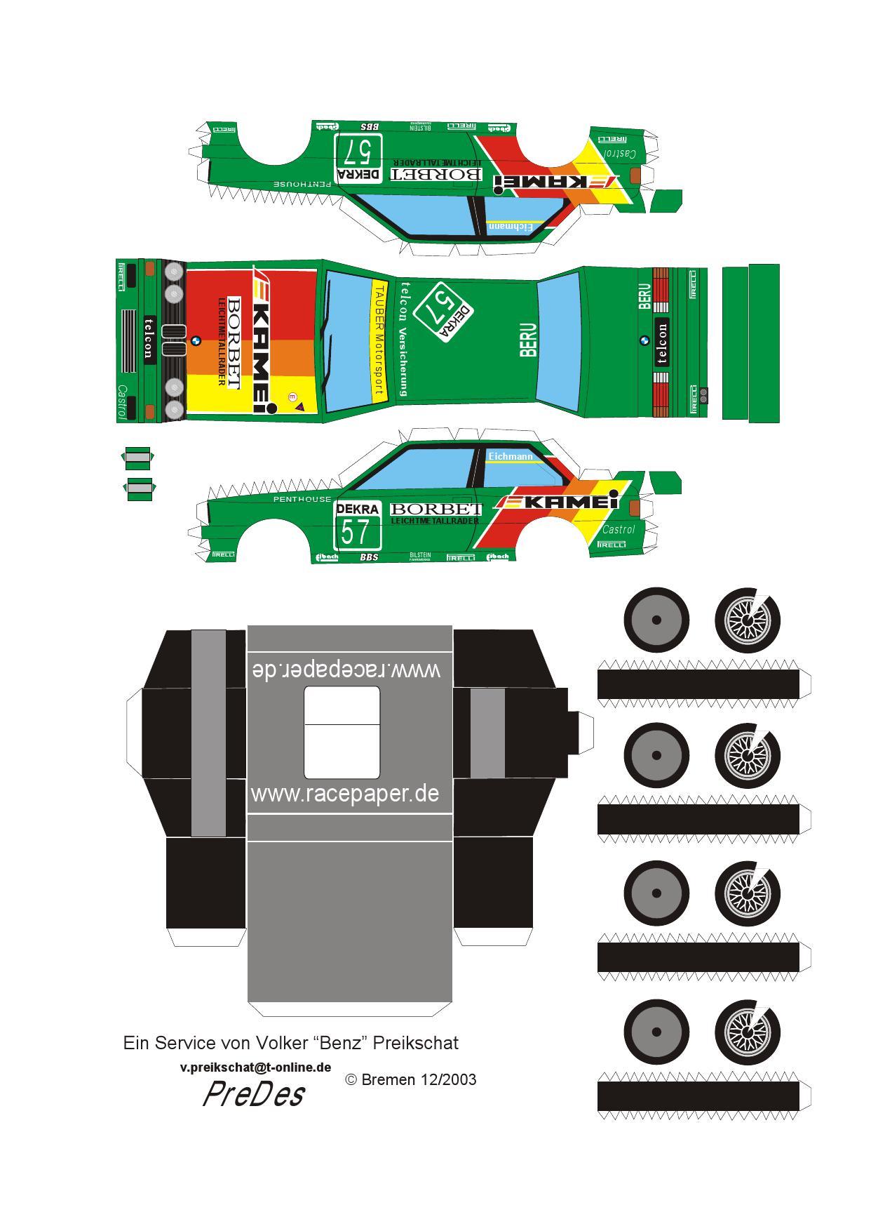 BMW B9 Papierowe modele Samochody