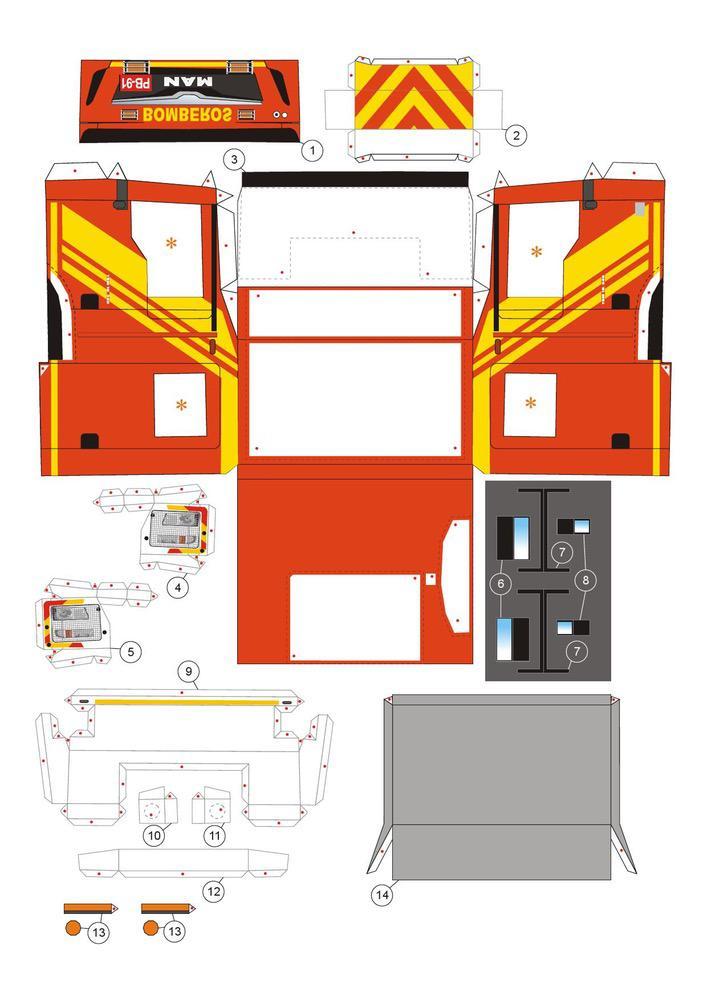 Fire truck Cars Paper models